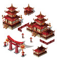 a set of architectural elements in oriental style vector image