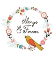 Always and forver card with cute bird vector image vector image