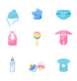 baby items flat set vector image vector image