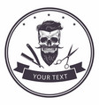 barbershop logo template bearded skull vector image
