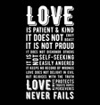 biblical phrase from 1 corinthians 138 love never vector image vector image