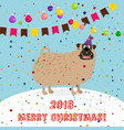 big puppy 2018 merry christmas card vector image vector image