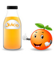 bottle of orange juice with cute orange cartoon vector image