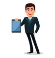 business man cartoon character in formal suit vector image