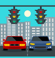 cars stop at traffic lights concept background vector image