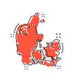 cartoon denmark map icon in comic style denmark vector image vector image