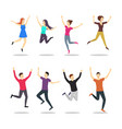 cartoon jumping characters people vector image