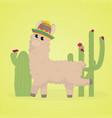 cartoon llama cute lama alpaca card on colorful vector image