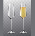 champagne glass full and empty glasses with vector image