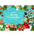christmas card with winter holiday greeting wishes vector image vector image