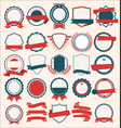 collection flat shields badges and labels blue vector image vector image