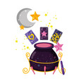 divination cards with witch cauldron vector image