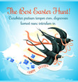 easter egg hunt cartoon poster with swallow bird vector image vector image