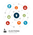 elections colored circle concept with simple icons vector image