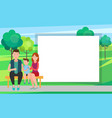 family mother father and son sit on bench in park vector image vector image
