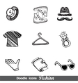 Fashion doodle icon set vector image