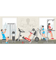 Flat gym interior vector image vector image