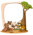 frame template with wild animals vector image vector image