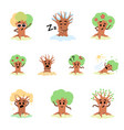 funny tree character through all seasons vector image vector image