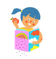 girl with apple read and study book icon design vector image