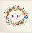 happy birthday spring flower wreath greeting card vector image vector image