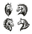 heraldic icons of horse head vector image