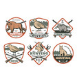 hunting animal bird with rifle retro shield badge vector image vector image