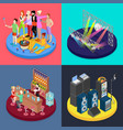 isometric party concept night club scene vector image vector image