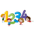 little children counting number one to four vector image vector image