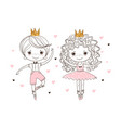 little prince and princess in pointe shoes vector image