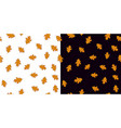 Seamless pattern set with orange leaves on white