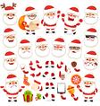 set of cartoon santa claus character vector image