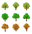 set of seasoned trees flat style vector image