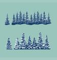 set snow trees vector image