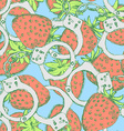 Sketch handcuffs and strawberry in vintage style vector image vector image