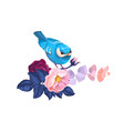 spring bird on flower branch watercolor artwork vector image