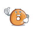 thumbs up bagels character cartoon style vector image vector image
