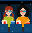 two girls at the cinema in 3d glasses vector image vector image