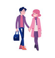 walking couple in autumn vector image vector image