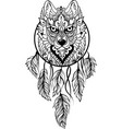 wolf in ethnic tribal stile with dreamcatcher vector image