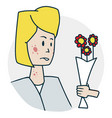 woman is allergic to flowers vector image