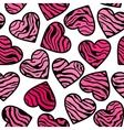 zebra print pink hearts vector image vector image