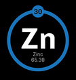 Zinc chemical element vector image vector image