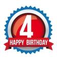 Four years happy birthday badge ribbon vector image