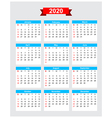 2020 calendar week start sunday vector image vector image