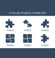 6 puzzle icons vector image vector image