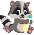 baby raccoon cartoon vector image vector image