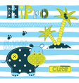 Background with cute hippo vector image vector image