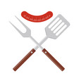 bbq or grill tools icon crossed barbecue fork and vector image