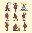 bigfoot cartoon character set funny mythical vector image vector image